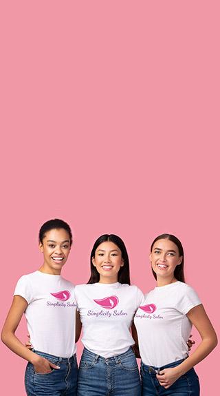 Salon employees wearing uniform custom tshirts
